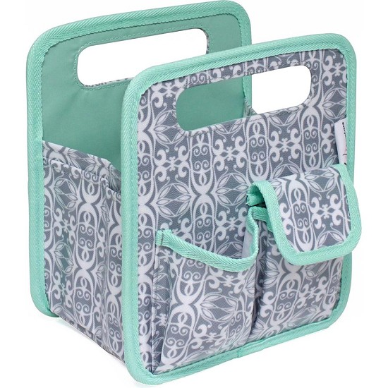 "Everything Mary - Desktop Tote 8.75""X7.75""X5"" - Gray/Mint"
