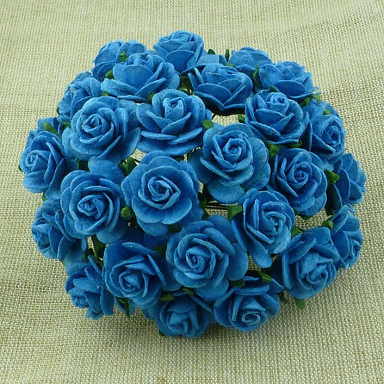 WOC Flowers - Turquoise Mullberry Paper Roses - 20mm