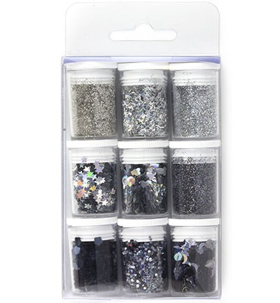 Hobby Crafting Fun - Glitter Set - Silver Assorted