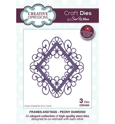 Stansmal Creative Expressions - The Frames & Tags Collections - Peony Diamond