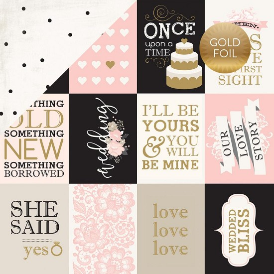 "Scrappapier Echo Park - Wedding Bliss - 3"" x 4"" Journaling Cards (Gold Foil)"