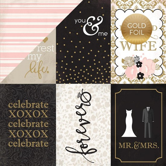 "Scrappapier Echo Park - Wedding Bliss - 4"" x 6"" Journaling Cards (Gold Foil)"