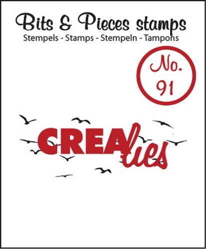 Clearstamp Crealies - Bits & Pieces - No 91 Small birds in the sky