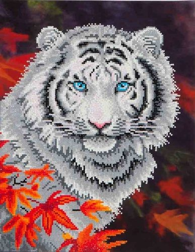 Diamond Dotz - 45,7x35,5cm - White Tiger in Autumn - D7.006