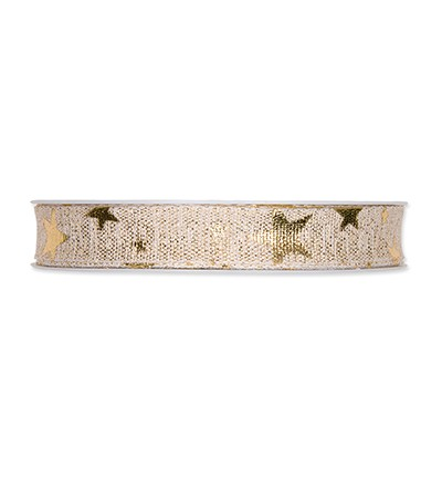 Lint - Printed Lurex Ribbon Stars - Cream/Gold
