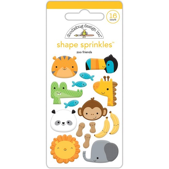 Doodlebug - At the Zoo - Sprinkles Adhesive Glossy Enamel Shapes