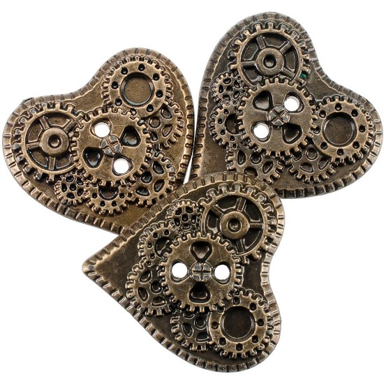 Steampunk buttons - Antique Gold Heart 13/Pkg