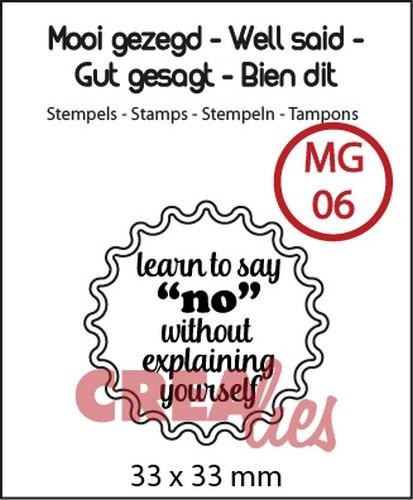 Clearstamp - Crealies - nr 6 Learn to say no