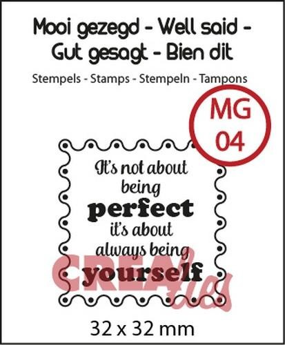 Clearstamp - Crealies - nr 4 It`s not about being perfect