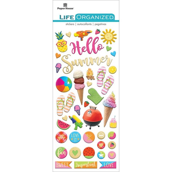 Paper House - Life Organized Puffy Stickers - Summer Fun