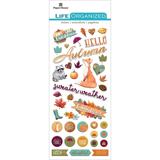 Paper House - Life Organized Puffy Stickers - Autumn Woods