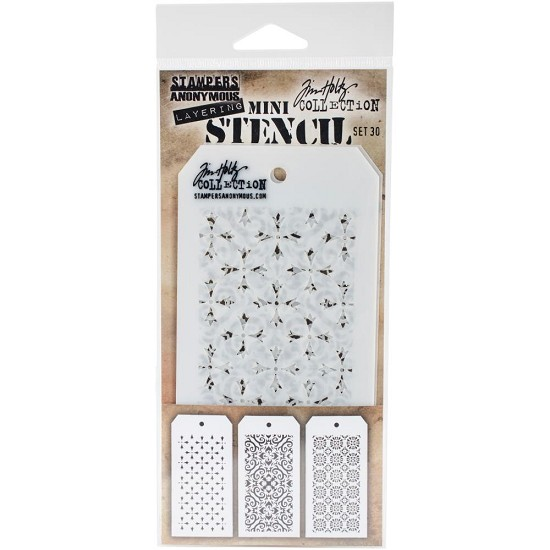 Tim Holtz - Mini Layered Stencil Set 3/Pkg - Set #30