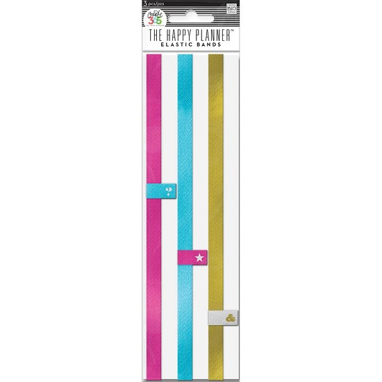 Me & My Big Ideas - Create 365 Happy Planner - Elastic Bands 3/Pkg - Pink/Gold/Teal