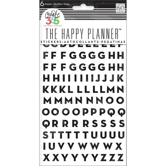 Me & My Big Ideas - Create 365 Happy Planner Stickers - Alpha Black