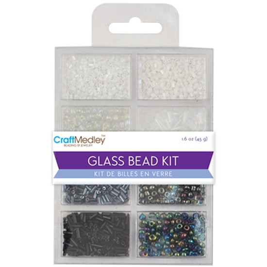 Schudmateriaal - Glass Bead Kit - Black/White Classics