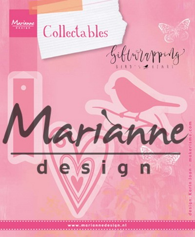 Marianne Design - Collactables - Giftwrapping - Karin`s bird, hearts & tag