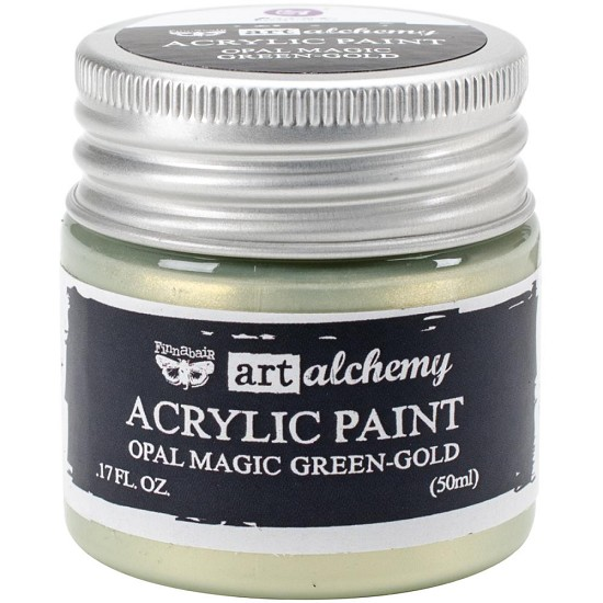 Finnabair Art Alchemy - Acrylic Paint 1.7 Fluid Ounces - Opal Magic Green / Gold