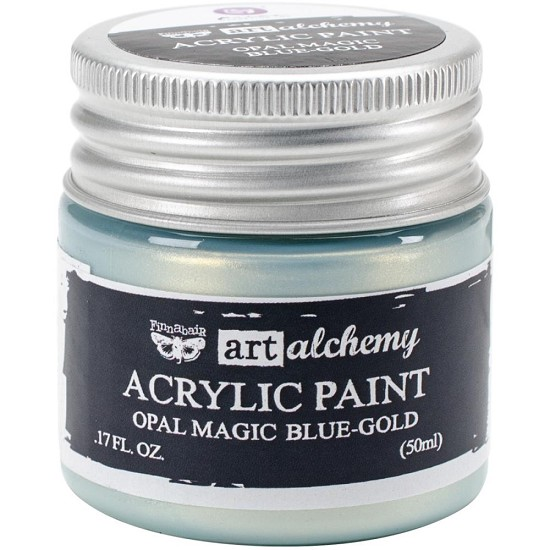 Finnabair Art Alchemy - Acrylic Paint 1.7 Fluid Ounces - Opal Magic Blue / Gold