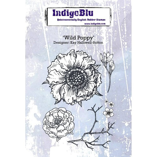 Indigo Blue - Rubber Stamp - Wild Poppy