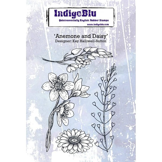 Indigo Blue - Rubber Stamp - Anemone and Daisy