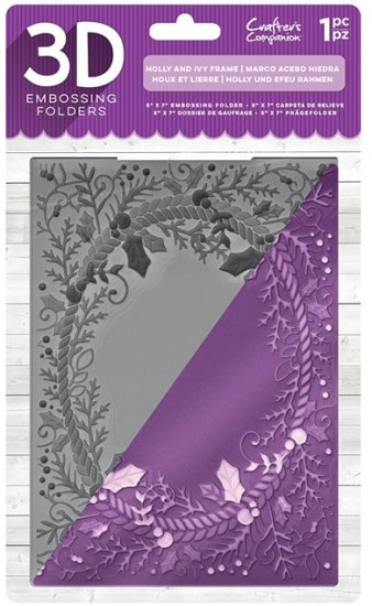 Crafter`s Companion - 3D Embossing Folder - Holly and Ivy Frame