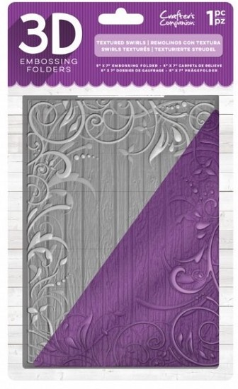 Crafter`s Companion - 3D Embossing Folder - Textured Swirls