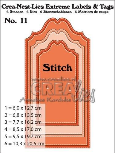 Stansmal Crealies - Extreme Labels & Tags - Nr 11 stitch