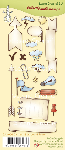 Leane Creatief - Clear Stamp Banners, arrows and icons