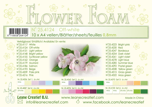 Leane Creatief - Flower foam sheets a4 Off White
