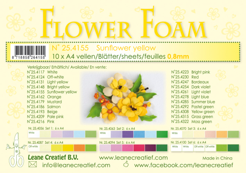 Leane Creatief - Flower foam sheets a4 Sunflower yellow
