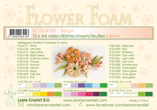 Leane Creatief - Flower foam sheets a4 Beige