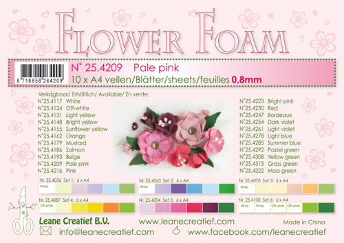 Leane Creatief - Flower foam sheets a4 Pale pink