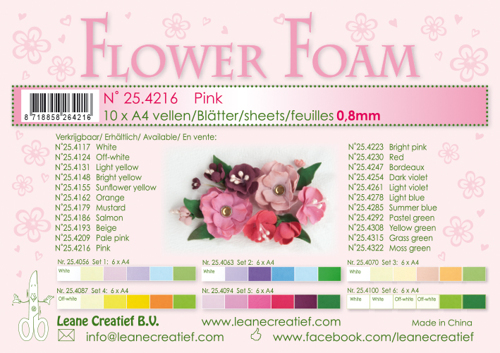 Leane Creatief - Flower foam sheets a4  pink
