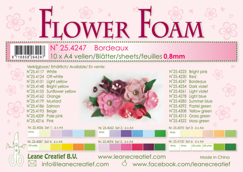 Leane Creatief - Flower foam sheets a4 bordeaux