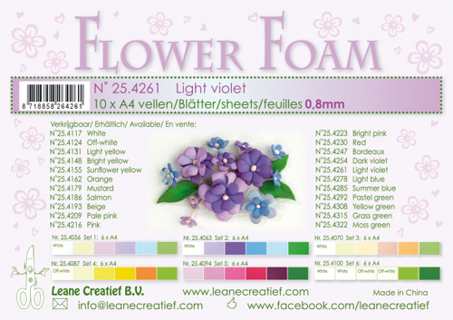 Leane Creatief - Flower foam sheets a4 Light Violet