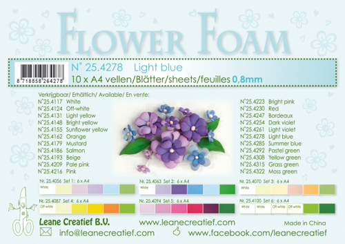 Leane Creatief - Flower foam sheets a4 Light blue