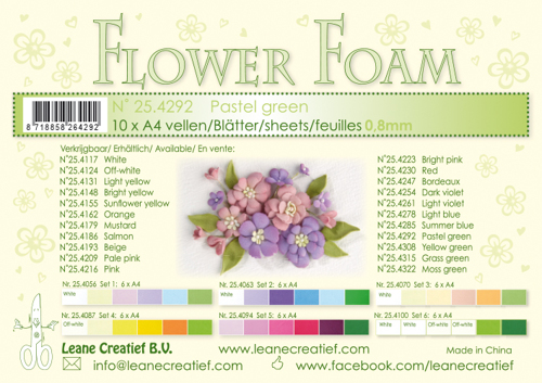 Leane Creatief - Flower foam sheets a4 Pastel green
