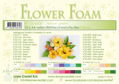 Leane Creatief - Flower foam sheets a4 yellow green