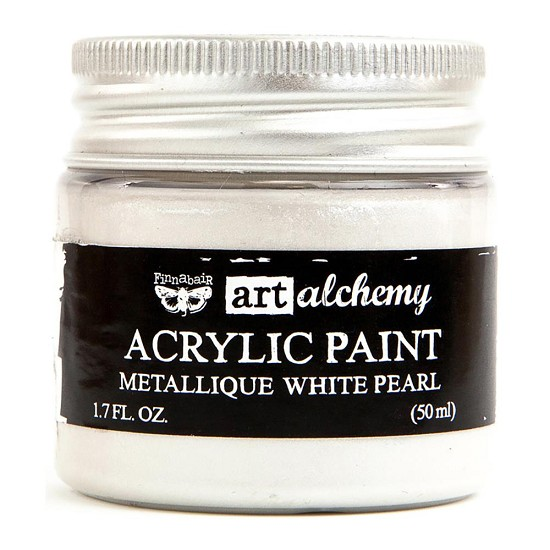 Finnabair Art Alchemy - Acrylic Paint - Metallique - White Pearl
