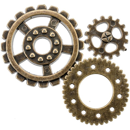 Steampunk Buttons - Gears Antique Gold