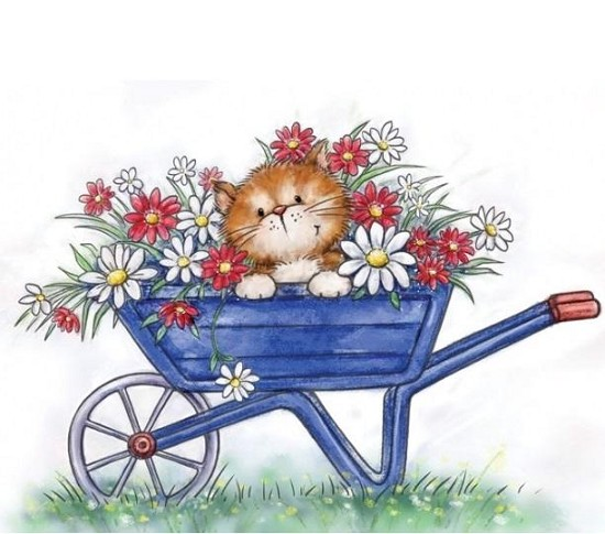 Clearstamp - Wild Rose Studio`s -  A7 Cat in Wheelbarrow