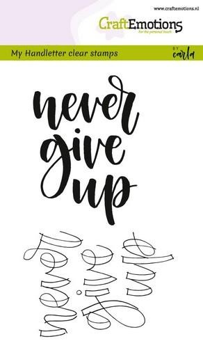 CraftEmotions - Clearstamps A6 - Handletter Never give Up