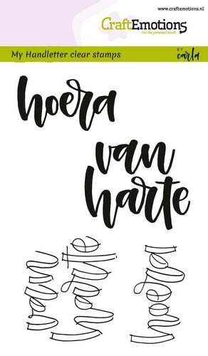CraftEmotions - Clearstamps A6 - Handletter Hoera van Harte
