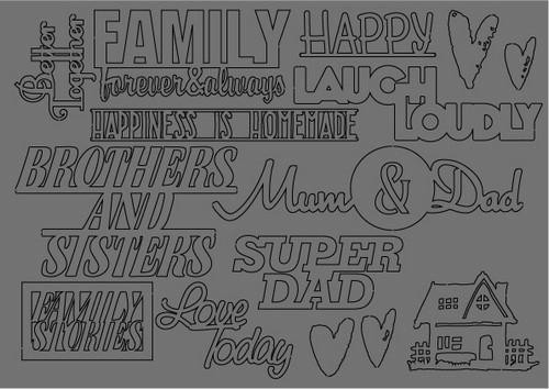 Pronty Scrap by Raffzz - Family Stories - Grey Chipboard A5