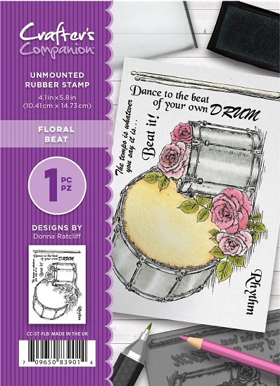A6 Unmounted Rubberstempel - Crafter`s Companion - Floral Beat