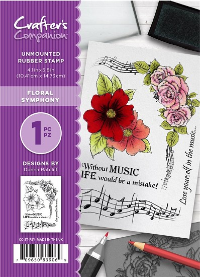 A6 Unmounted Rubberstempel - Crafter`s Companion - Floral Symphony