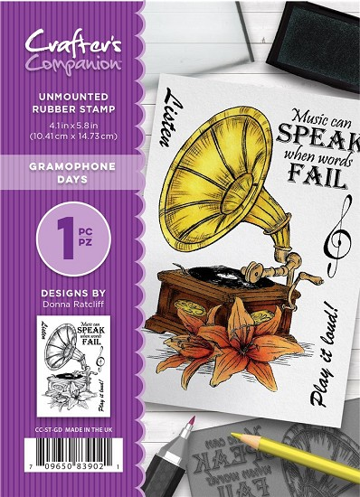 A6 Unmounted Rubberstempel - Crafter`s Companion - Gramophone Days