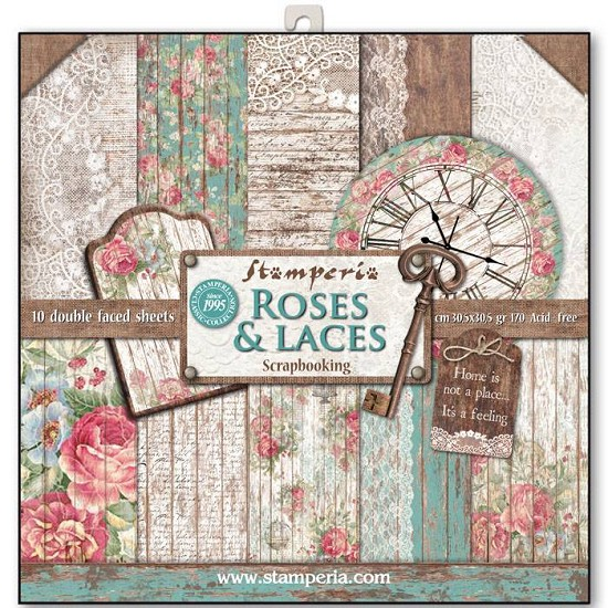 Paperpad Stamperia - 30,5 x 30,5 cm - Roses & Laces