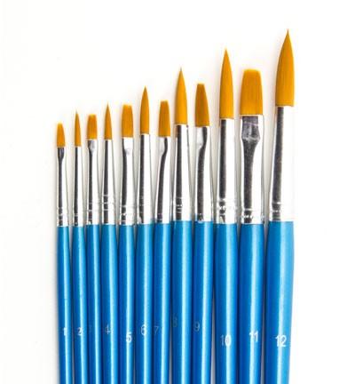 Hobby & Crafting fun - Artist Brush Set (6x flat, 6x round)