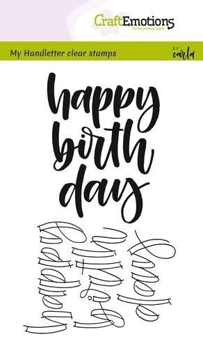 Clearstamp - CraftEmotions - Handletter Happy Birthday